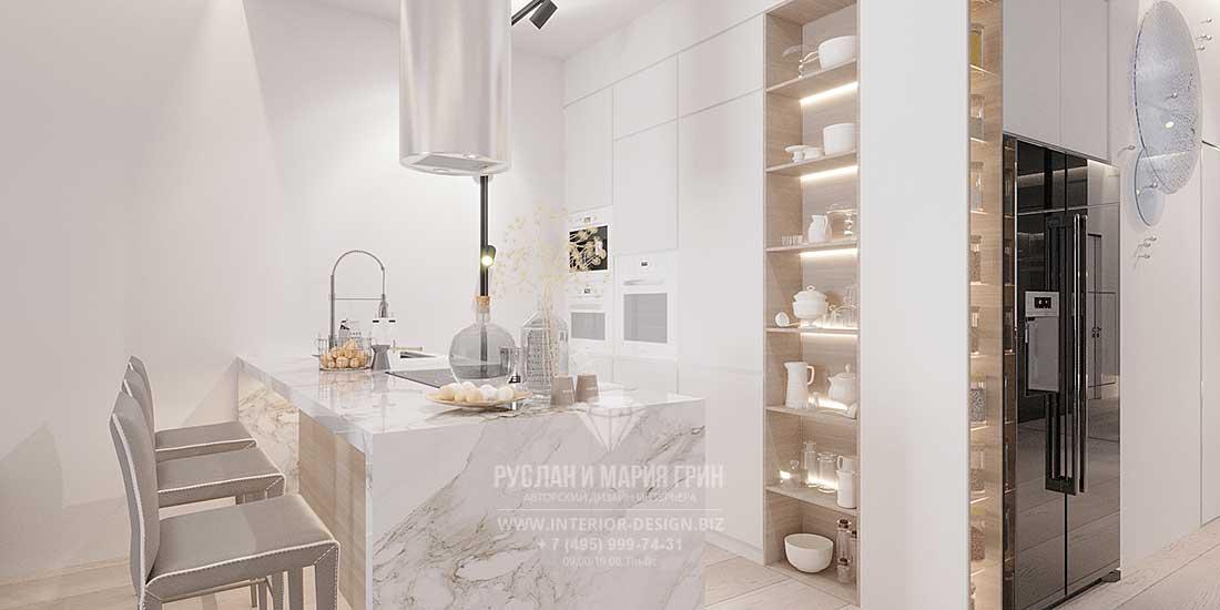 Дизайн белой кухни в современном стиле с барной стойкой