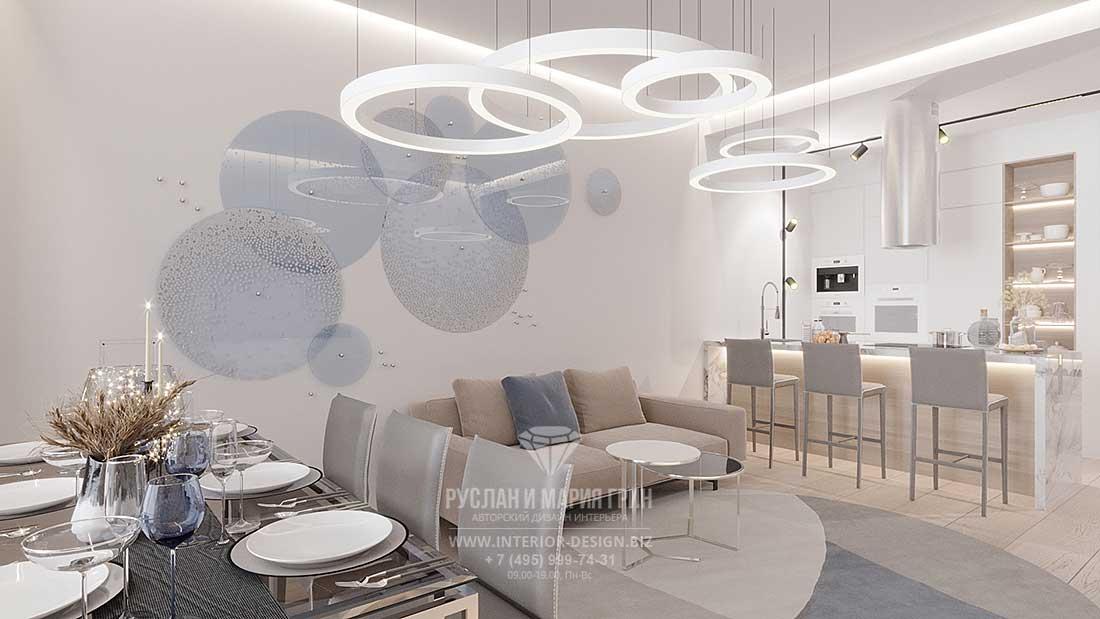Современная кухня-гостиная в светлых тонах