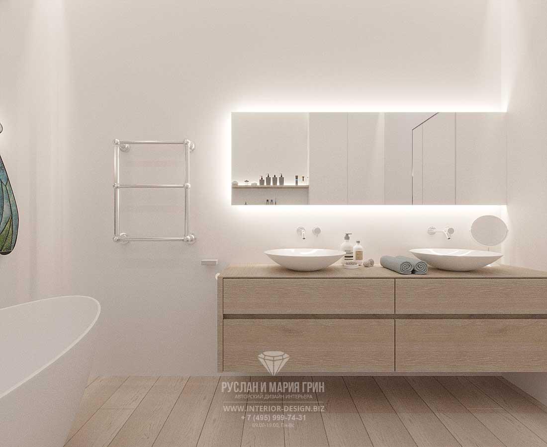 Дизайн ванной комнаты в современном стиле с подвесным умывальным столом