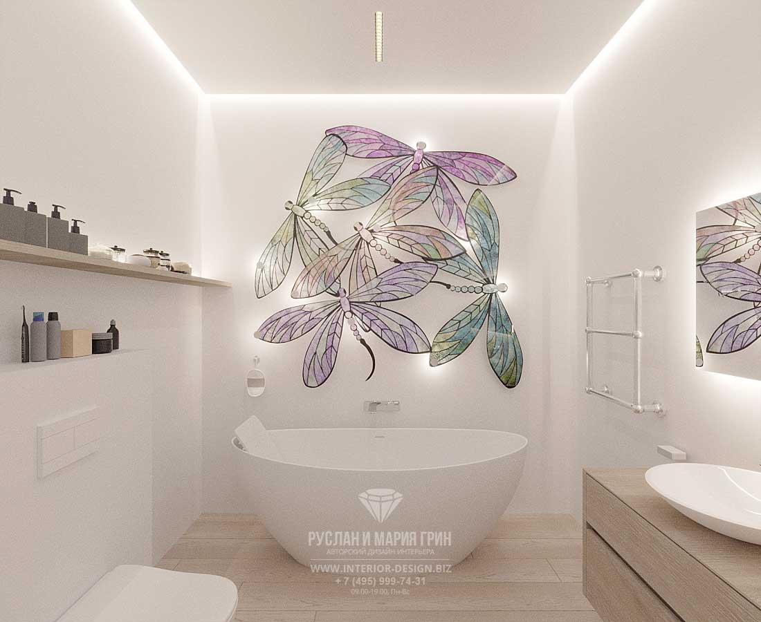 Ванная комната со светильниками-стрекозами
