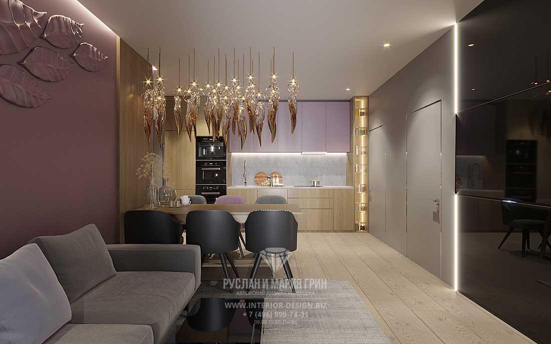 Дизайн современной мультифункциональной гостиной — фото кухни в нише