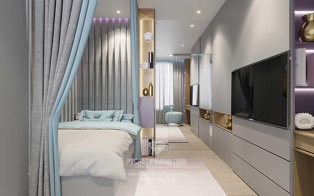 Дизайн современной светлой спальни с альковом