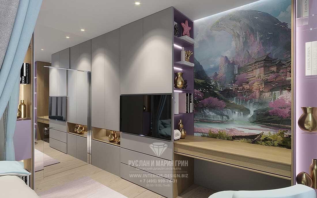 Дизайн спальни в современном стиле — фото будуарной зоны с фреской
