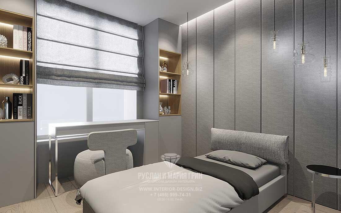 Интерьер спальни в современном стиле с рабочим местом у окна