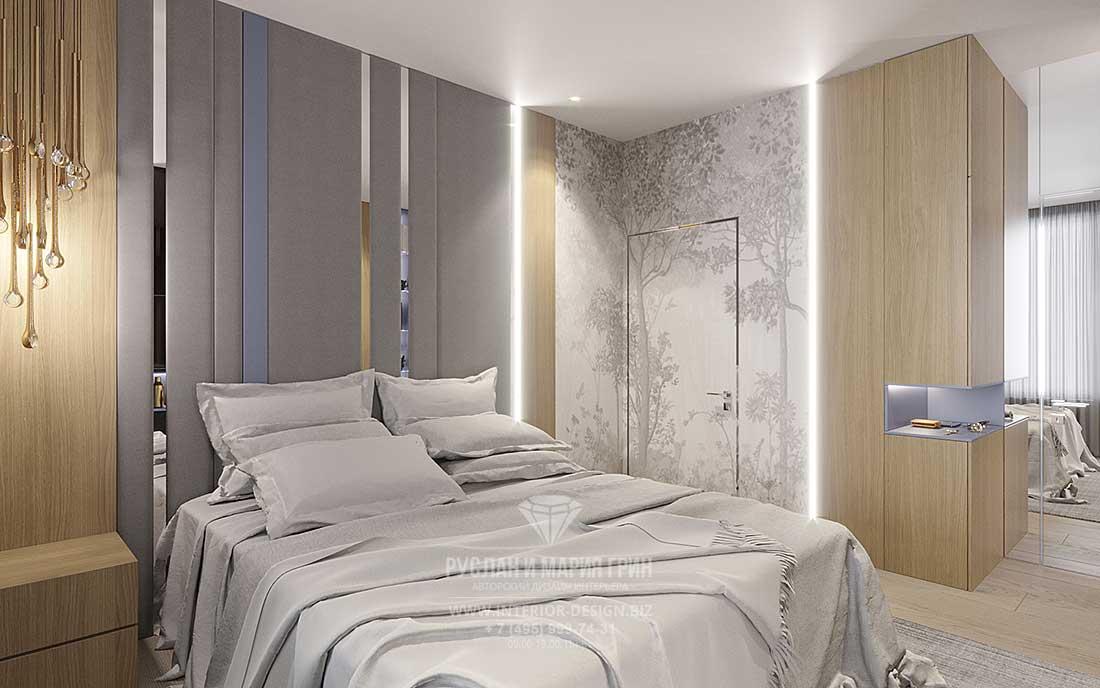 Комбинированная отделка в дизайне светлой спальни в современном стиле