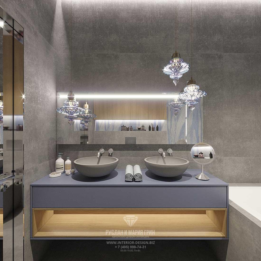 Дизайн ванной комнаты в современном стиле с двумя раковинами