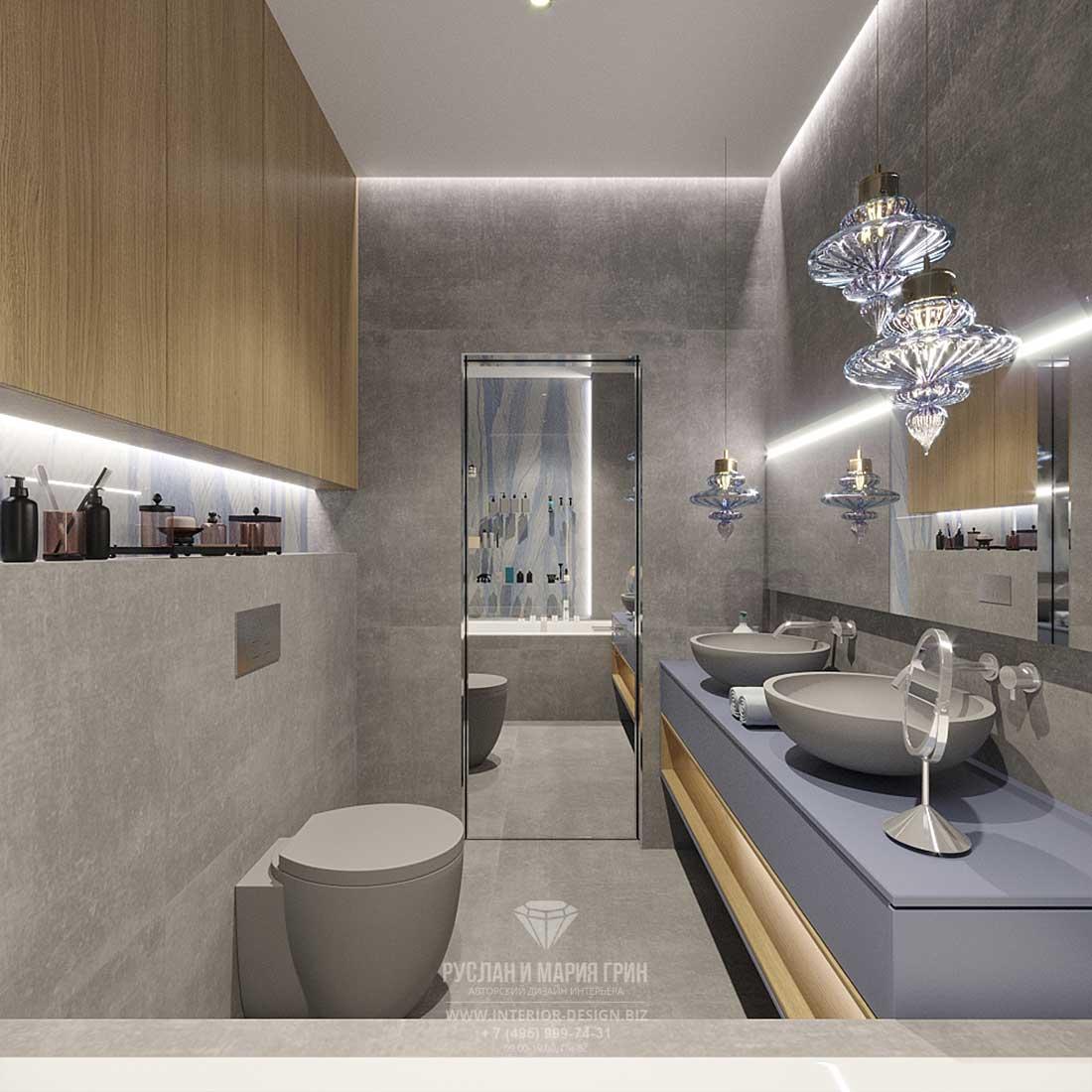 Дизайн современной ванной комнаты с отделкой под бетон