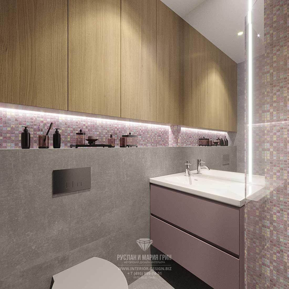 Дизайн ванной комнаты в современном стиле с открытой полкой