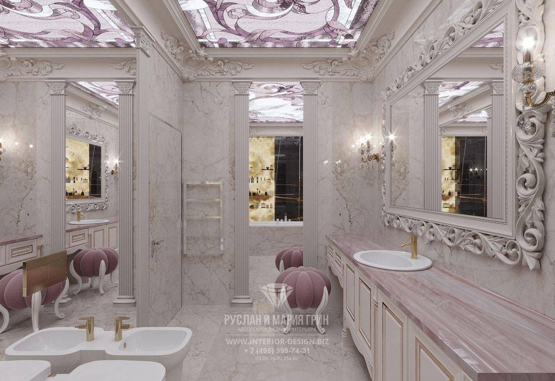 Дизайн интерьера ванной комнаты в бело-розовой гамме