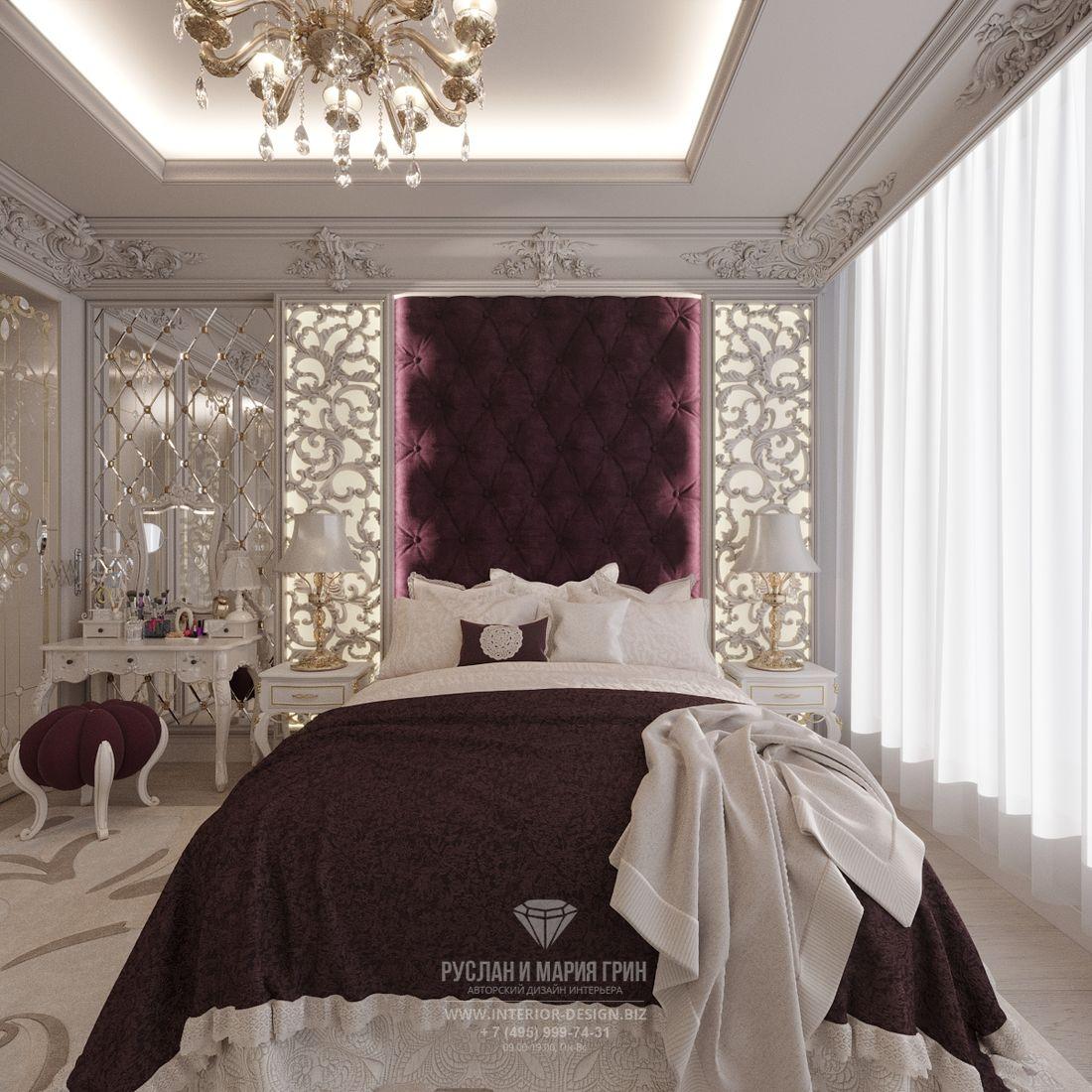 Дизайн классической белой спальни с бордовыми акцентами
