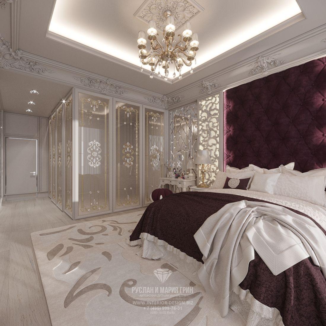 Дизайн классической спальни. Вид на гардеробную
