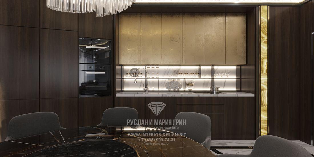 Дизайн кухни в темных тонах в стиле арт-деко
