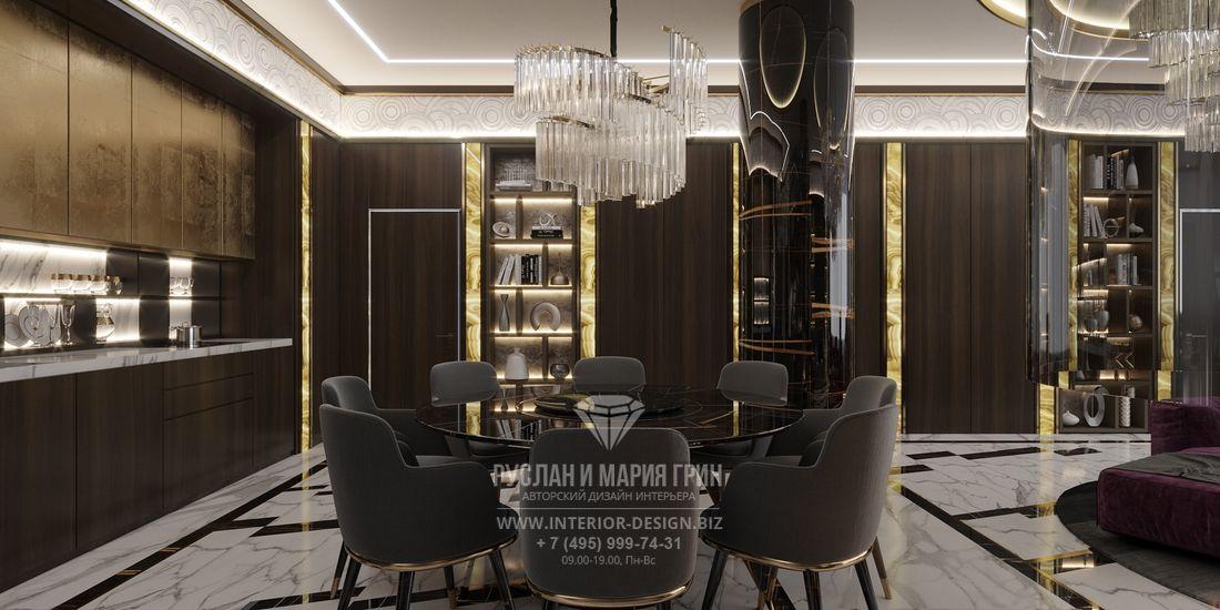 Столовая зона элитной квартиры в Санкт-Петербурге