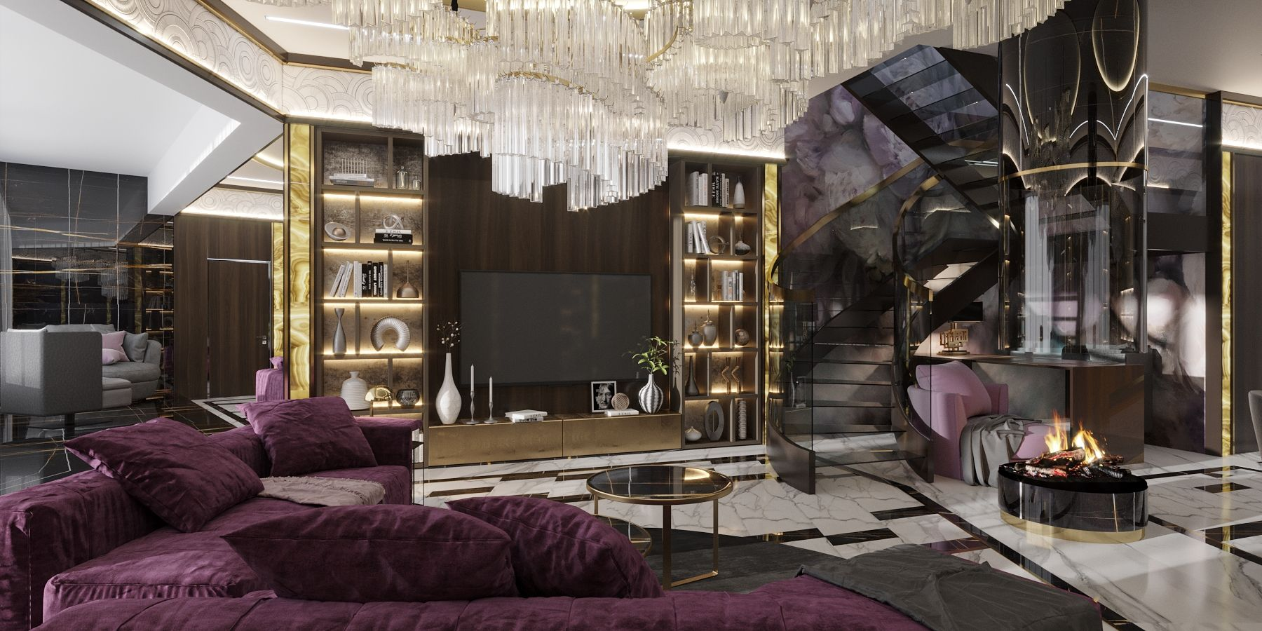 Дизайн двухуровневой квартиры в стиле арт-деко с камином и стеклянной лестницей