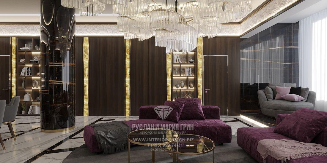 Диванная зона гостиной в стиле ар-деко
