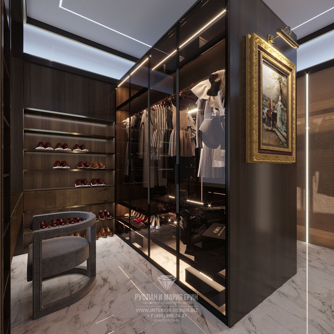 Дизайн гардеробной в стиле арт-деко с темными шкафами