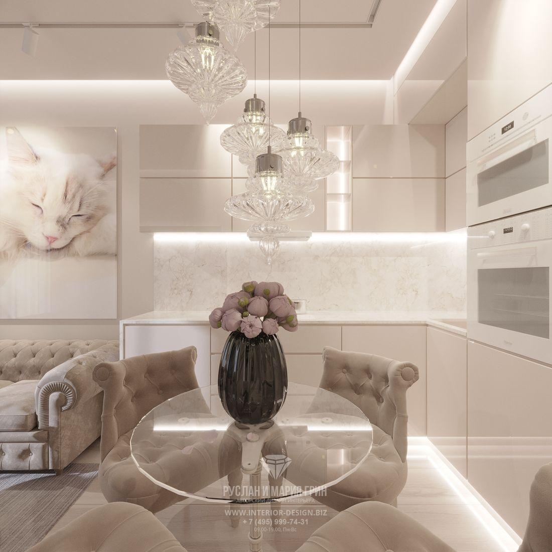 Дизайн светлой маленькой кухни в современном стиле