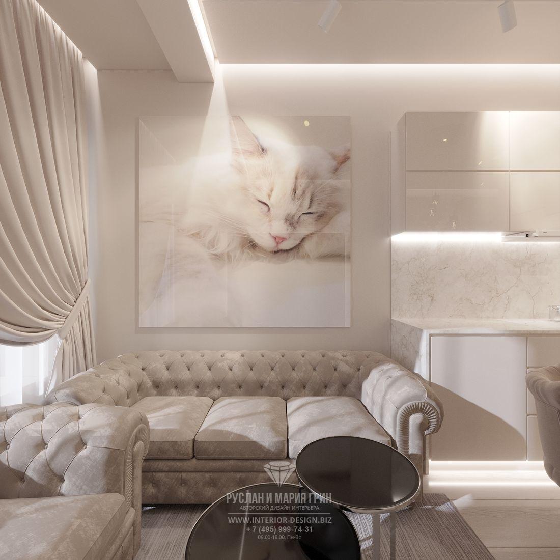 Дизайн современной светлой гостиной — фото зоны отдыха