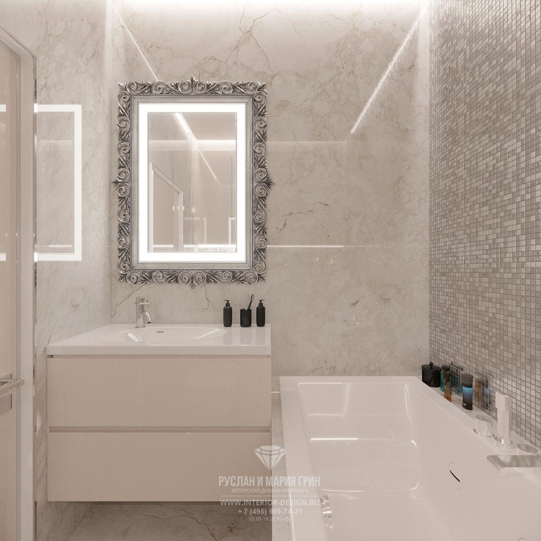 Дизайн ванной комнаты в современном стиле с мраморной отделкой