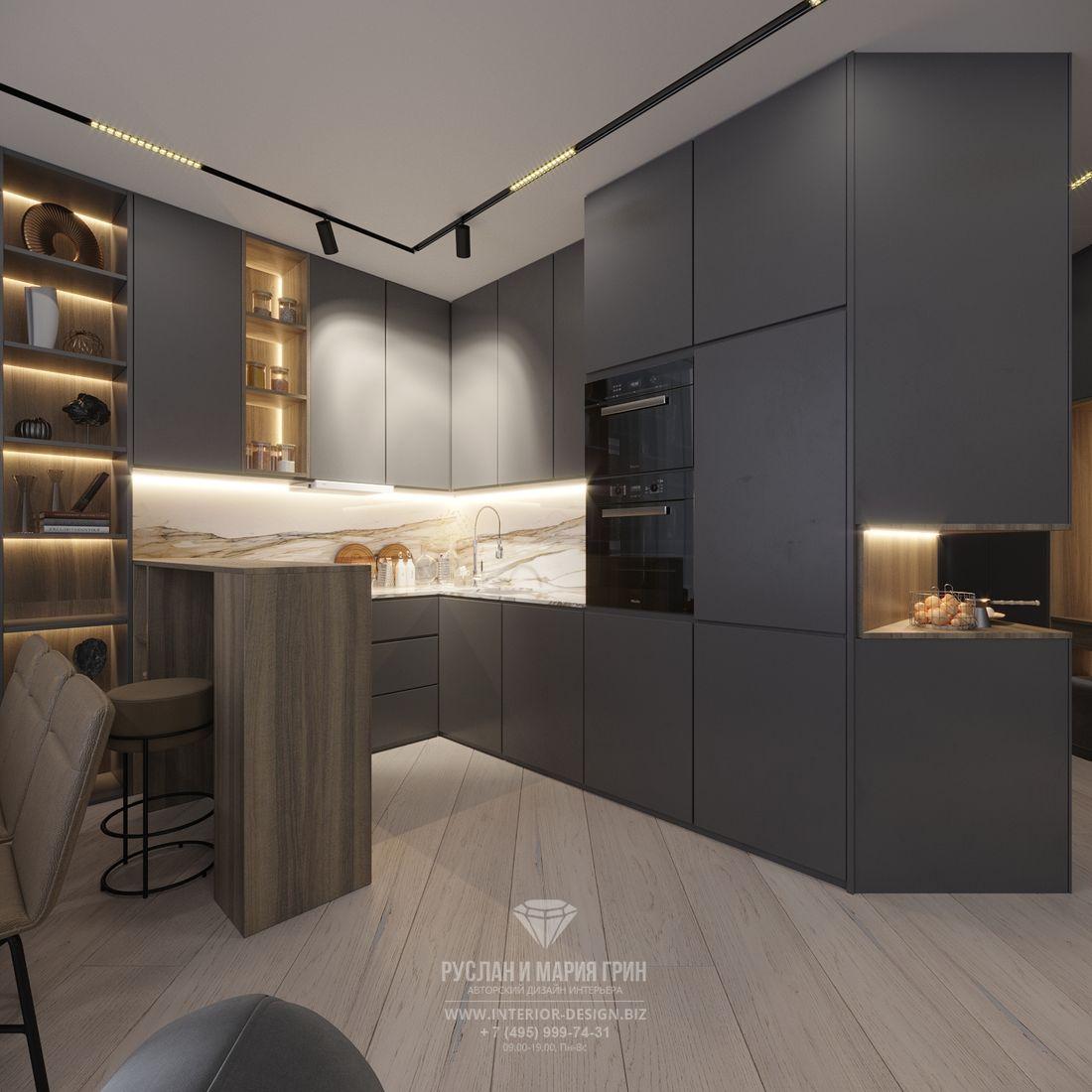 Дизайн серой угловой кухни в современном стиле