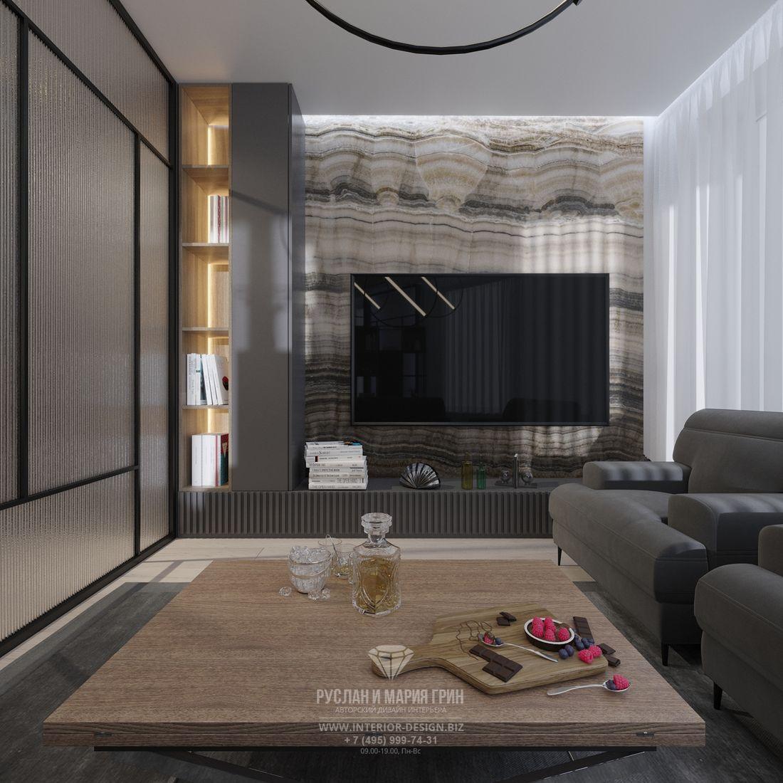 ТВ-зона в интерьере современной гостиной