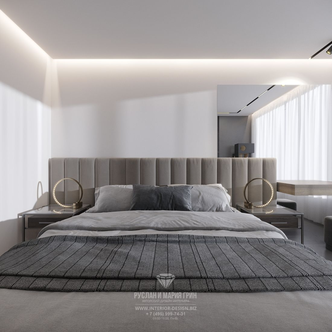Современный дизайн спальни в серых тонах