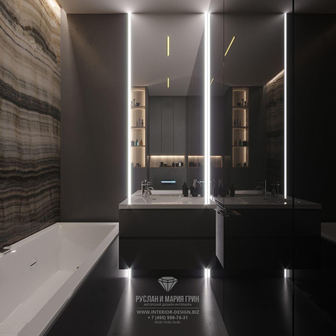 Современный интерьер ванной комнаты с LED-подсветкой