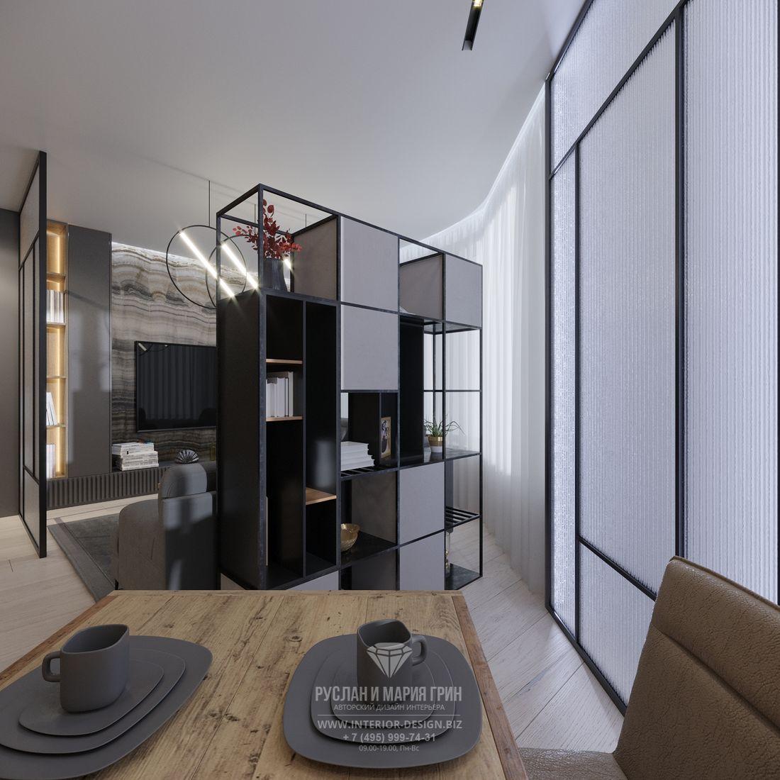 Дизайн современной кухни-гостиной — фото стеллажа, зонирующего пространство
