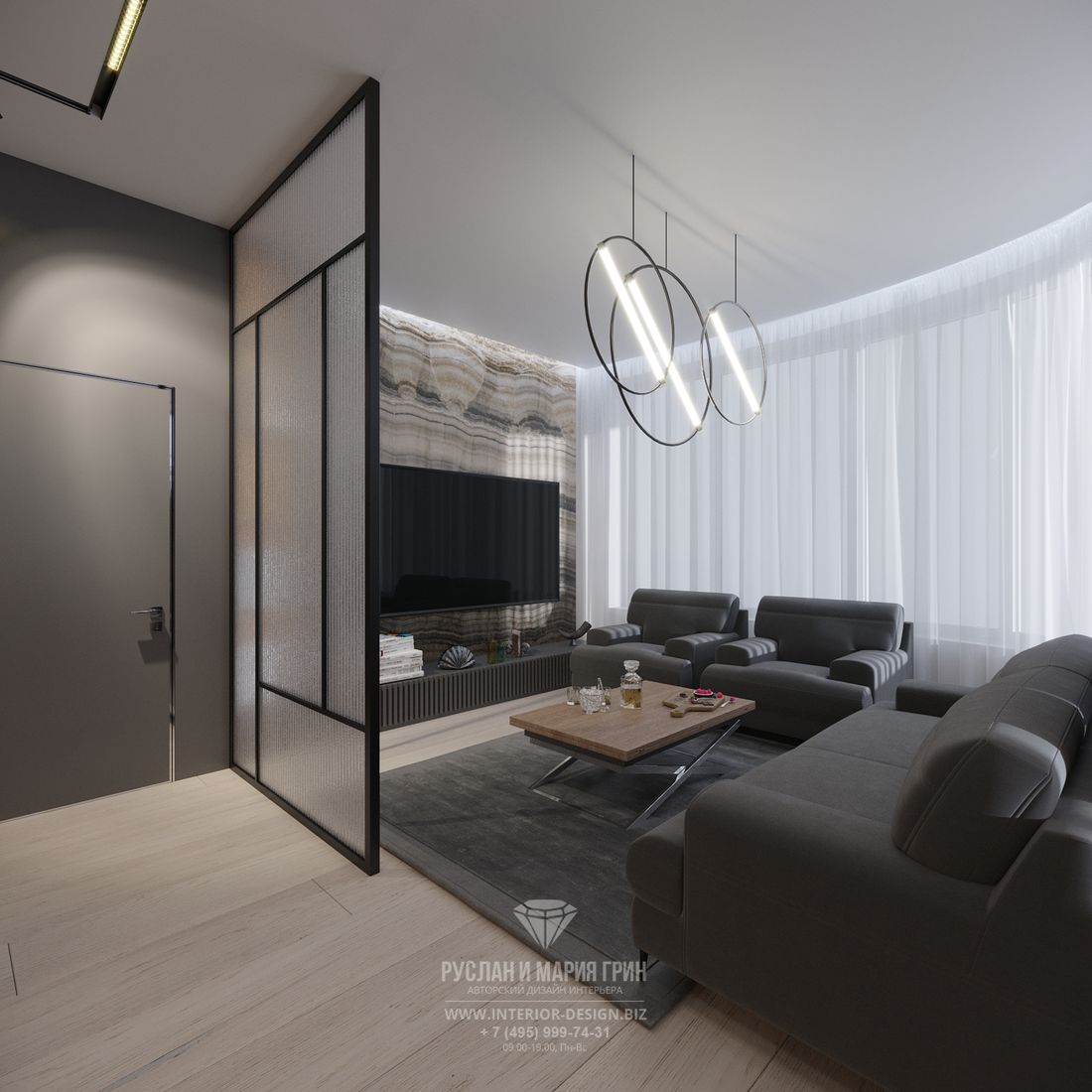 Современный дизайн гостиной в стиле лофт